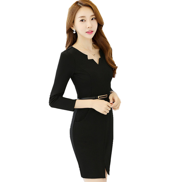 91e4d789b9a Fmasuth Ladies Wear Formal Summer Dresses Elegant 3 4 Sleeve V Neck Pencil  Slim Dresses with Sashes SL0885