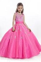 2016 Фуксия детские девушки цветка платья для свадьбы пром платья для маленьких девочек Детей pageant платья для девочек блеска