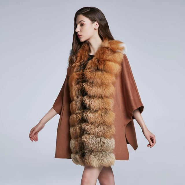 Real fox fur collar furry woolen coat with loose-fitting coat High quality women's autumn and winter jacket discount 2018 New