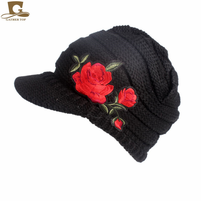 NEW Women s Cable Knit Visor Hat With Red Rose Flower Knitted newsboy Beret  Cap Visor Beanie Hat d1768fbf96a