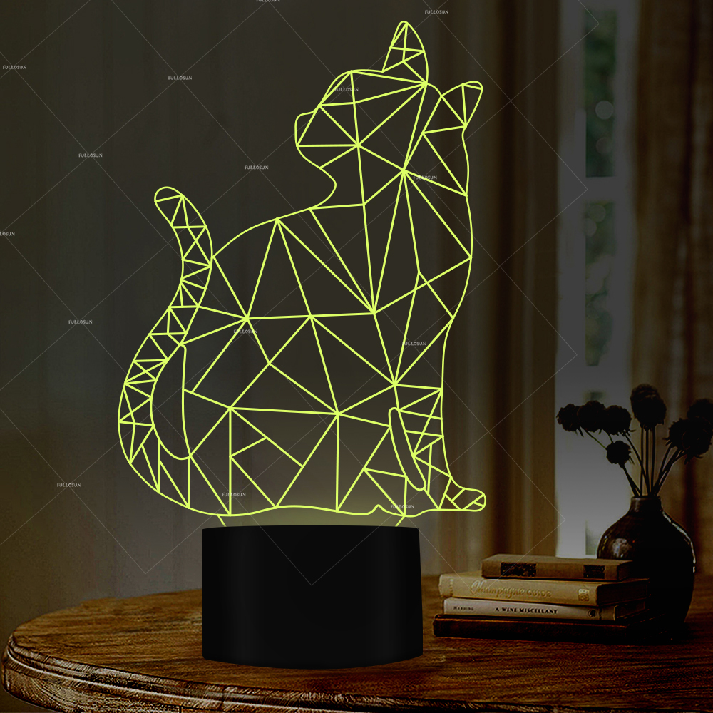 PET Addiction sitting cat design illusion LED nightlight 7 changing colors LED lamps as cat gifts for humans все цены