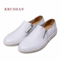 KRUSDAN Men Shoes Brand Genuine Leather Casual Sneakers 2018 Slip On Vulcanized Shoes Men Walking Breathable Handmade Male Flats