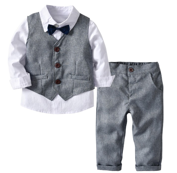 90 130cm new 2019 spring handsome vest+shirt+pant+bow tie boys clothing set 4pcs for birthday boys clothes set for wedding