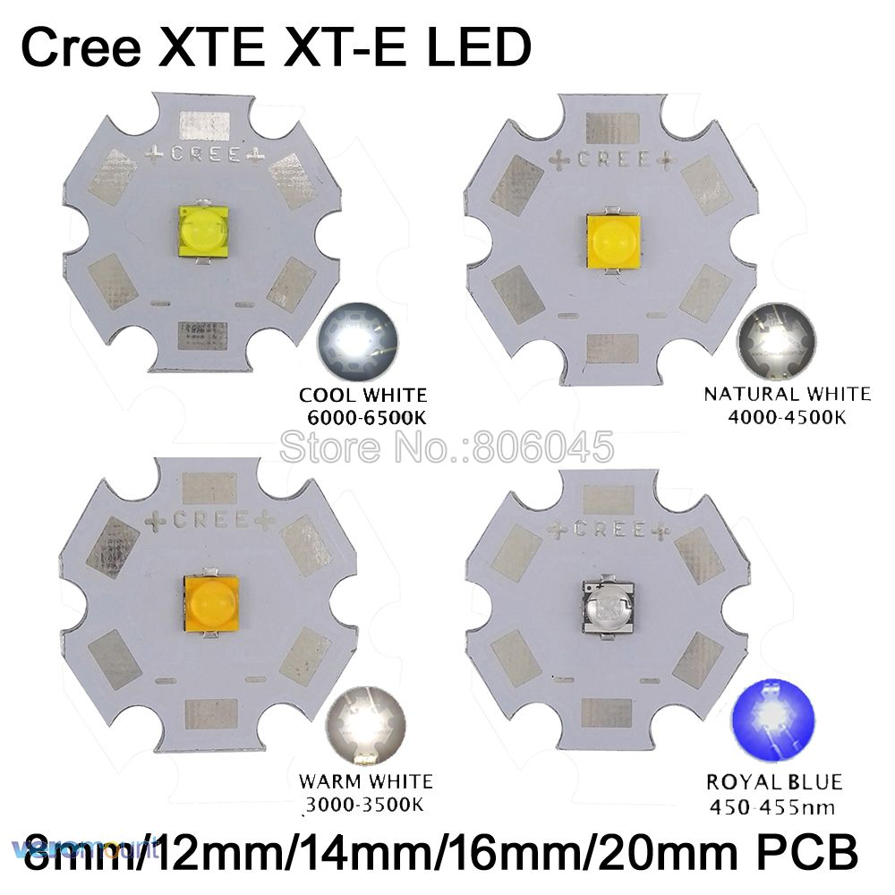 10x 5W Cree XTE XT-E High Power LED Emitter Diode,Cool White/Warm White/Neutral White/ Royal Blue On 8mm/12mm/14mm/16mm/20mm PCB