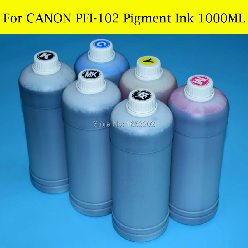 6 Liter For Canon PFI-102 Pigment Ink For Canon iPF500 iPF510 iPF600 iPF605 iPF610 iPF700 iPF710 iPF720 Printer