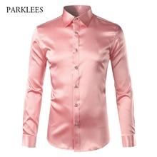 Camisa de satén seda rosada para hombre, camisa de manga larga a la moda para hombre, esmoquin ajustado, informal, brillante, emulación de seda, vestido con botones, 2017