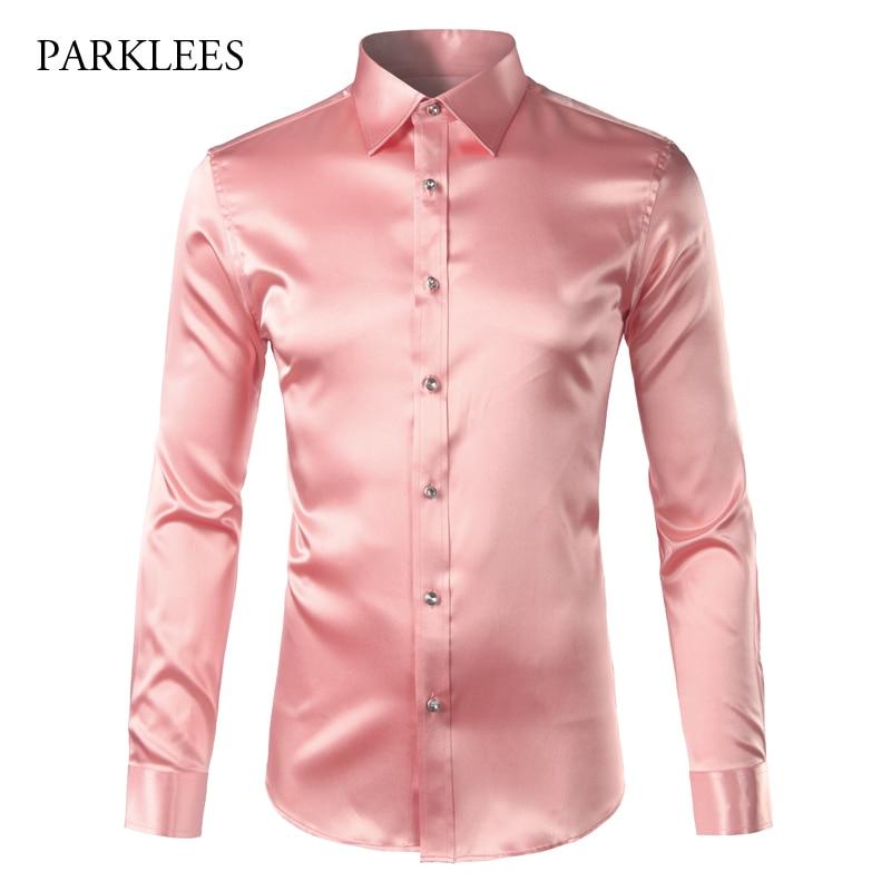 Pink Silk Satin Shirt Men 2017 Fashion Long Sleeve Mens Slim Tuxedo Shirts Casual Shiny Emulation Silk Button Down Dress Shirts