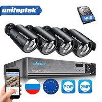 4CH 1080 P POE NVR CCTV Системы Plug And Play 2MP Водонепроницаемый Пуля IP Камера Открытый ИК 20 м комплект видеонаблюдения P2P XMEye