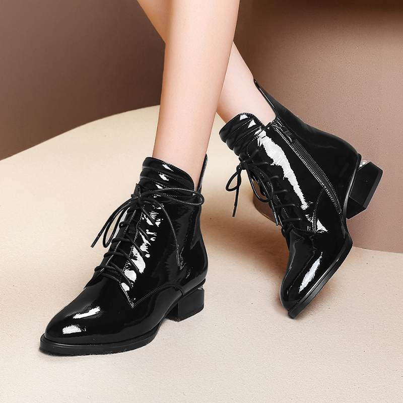 Image 3 - 2019 superstar pearl pointed toe keep warm zipper ankle boots  elegant motorcycle boots brand pearl heels sexy winter shoes L2f1Ankle  Boots
