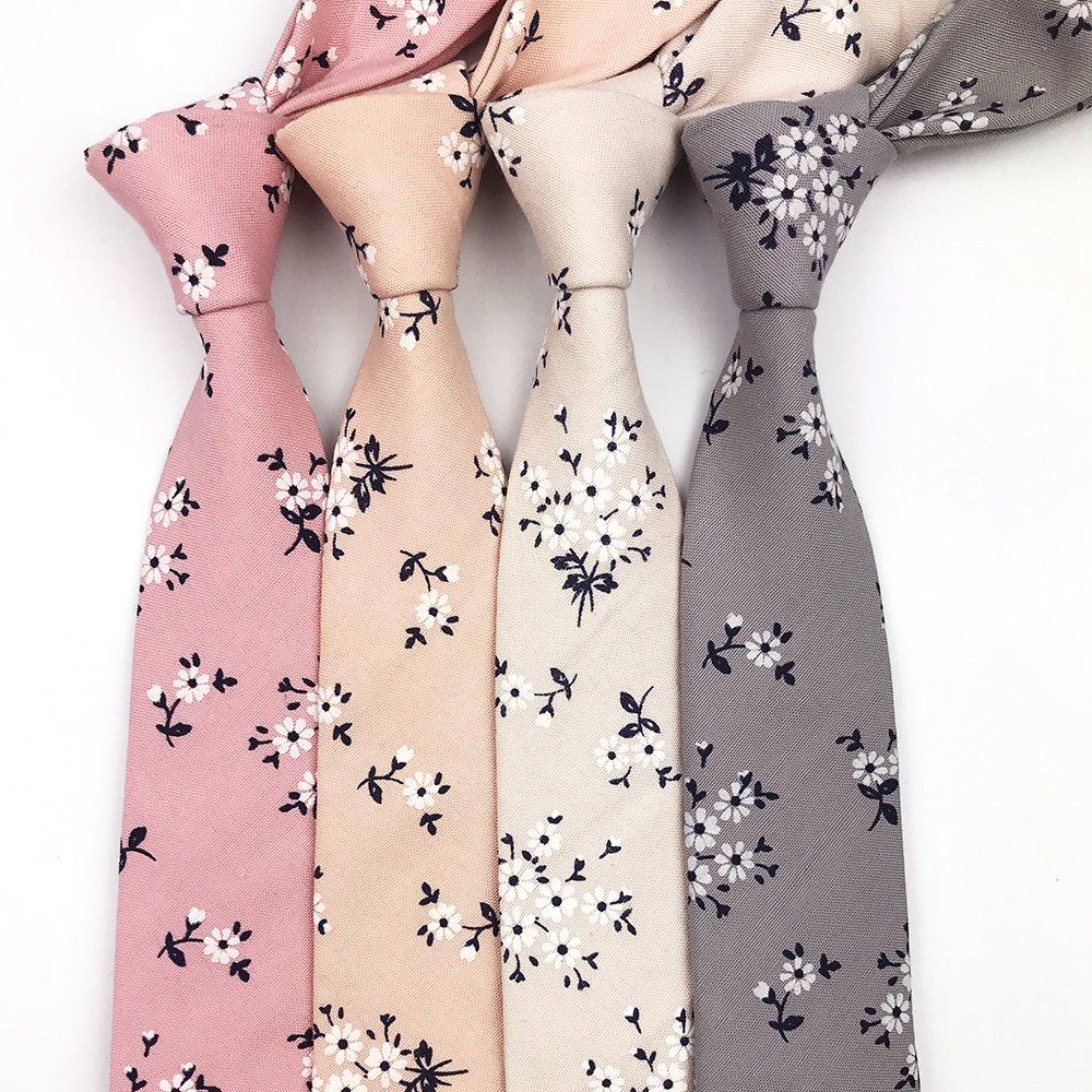 2019 New Arrival 3D Printing High Quality Floral Cotton Neckties For Men