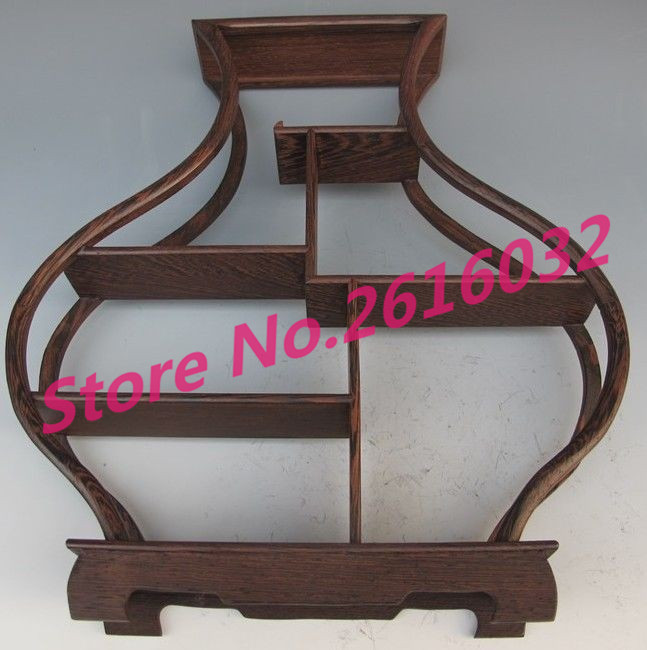 Nice Chinese suanzhi wood carved put small curio stand//shelf or Anique display R