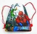 12 Unids Superhéroe Spiderman Niños de Dibujos Animados Impreso Con Cordón Mochila Bolsas de Viaje de la Escuela de Compras Regalos Del Cumpleaños Del Partido