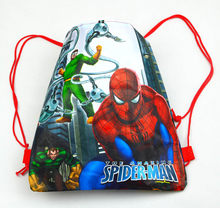 12Pcs Superhero Spiderman Cartoon Kids Drawstring Printed Backpack Shopping School Traveling Bags Party Birthday Gifts(China)