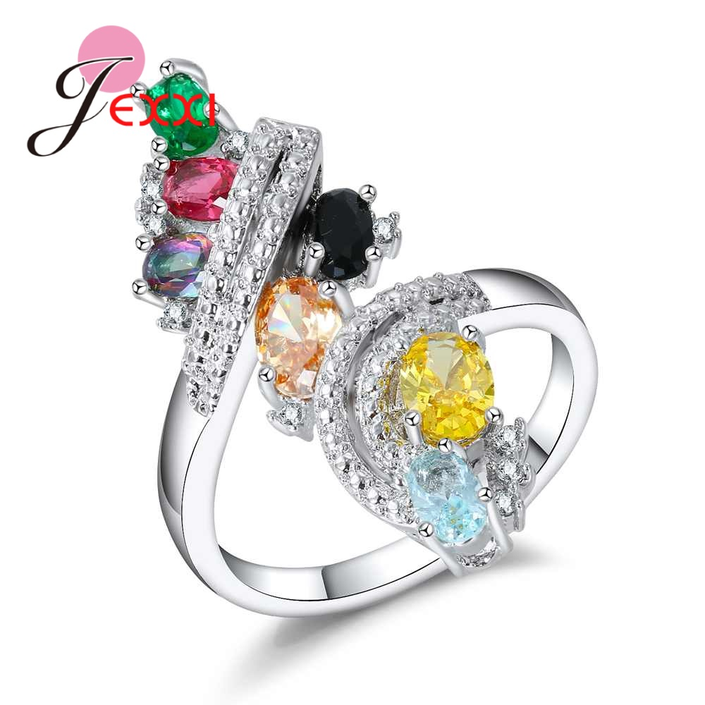 JEXXI Luxury Women Oval Crystal Jewelry Clear Cubic Zircon Rainbow Flower Ring with Twist Loop 925 Sterling Silver Bijoux Gift