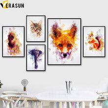 Watercolor Cat Elephant Lion Fox Animals Wall Art Canvas Painting Nordic Posters And Prints Pictures For Living Room Decor