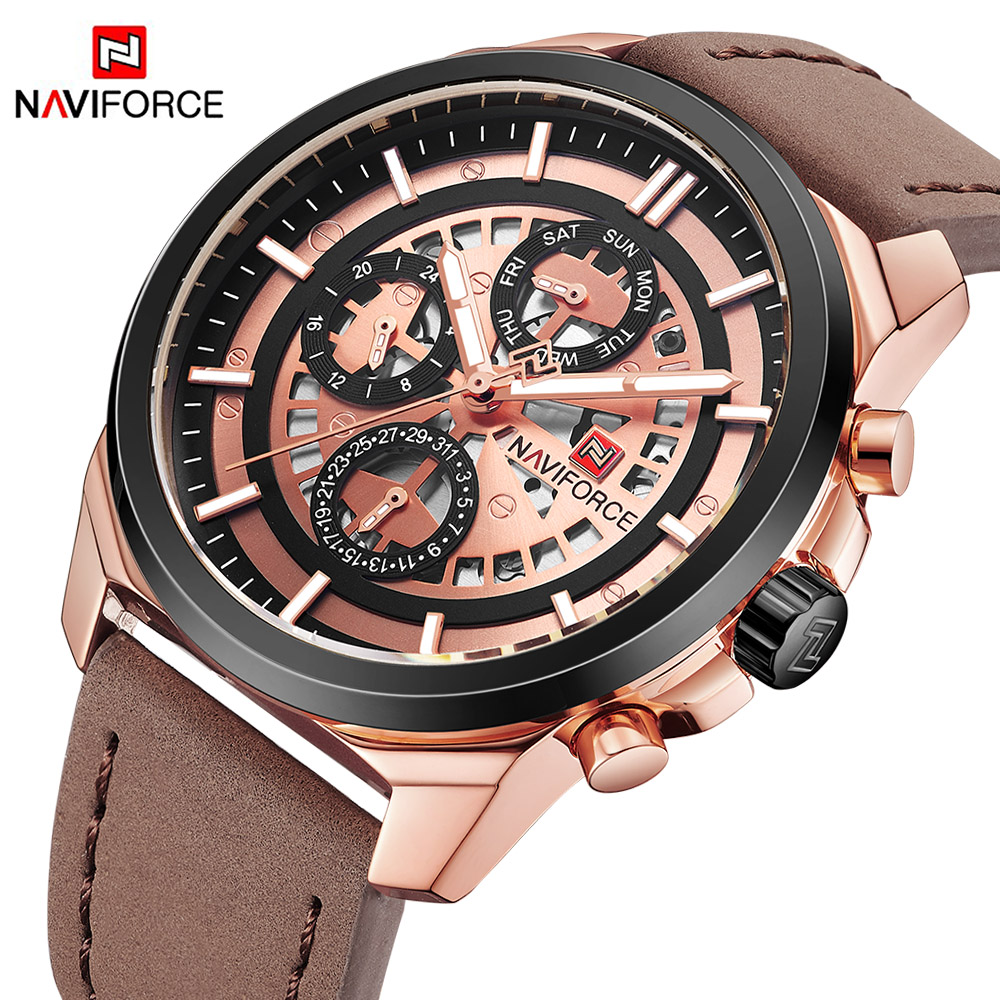 NAVIFORCE top Brand Luxury Mens Quartz Watches 24 Hour Date Clock Men Fashion Leather Strap Sports Wrist Watch Relogio Masculino