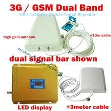 Tam Setleri Yeni GSM 3G Tekrarlayıcı Dual Band gsm güçlendirici 900 2100 Mobil Sinyal Amplifikatör GSM + 3G Cep Telefonu Sinyal Tekrarlayıcı
