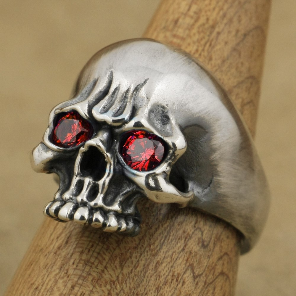 Handmade 925 Sterling Silver Red CZ Eyes Mens Biker Skull Ring TA63A US 7~15 jenifer nice