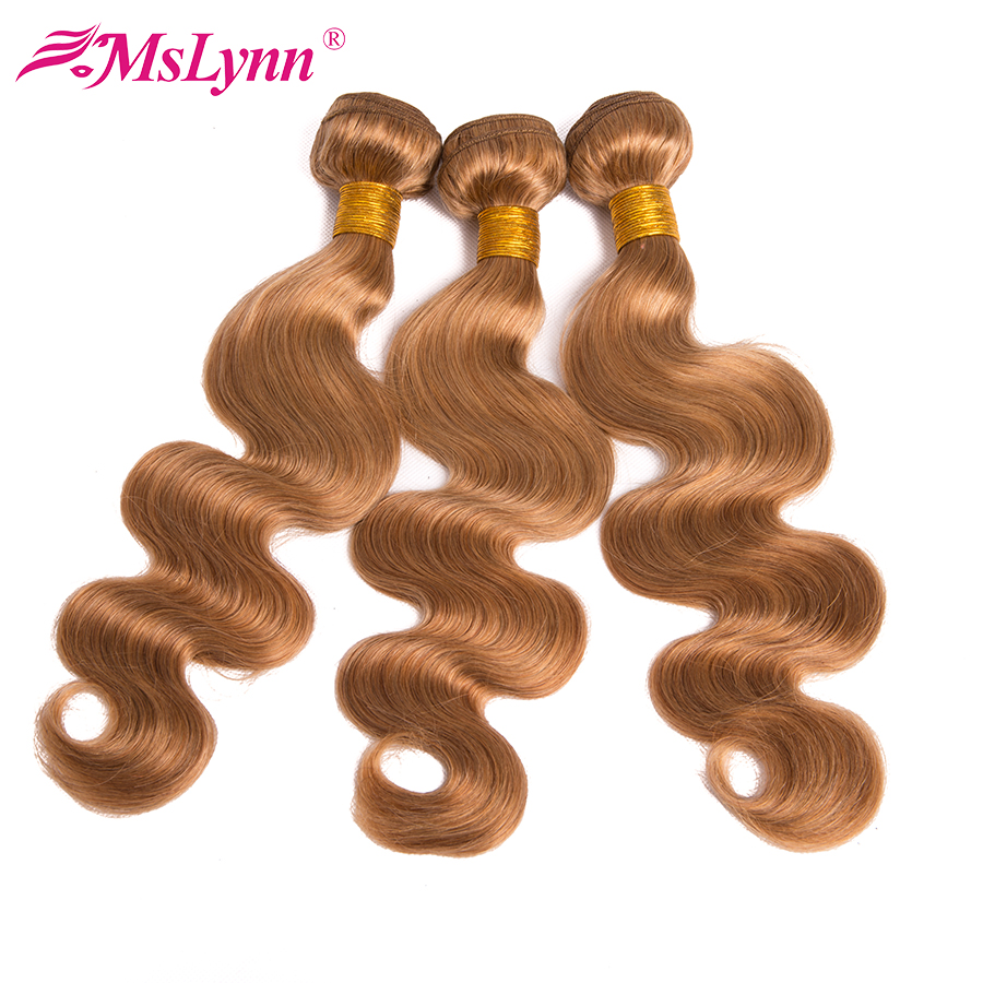 Berambut Perang Bundle Body Wave Bundles Brazil Menenunkan Rambut Bundle # 27 Beruang Honey Balloon Ekstra Rambut Manusia Mslynn NonRemy Hair