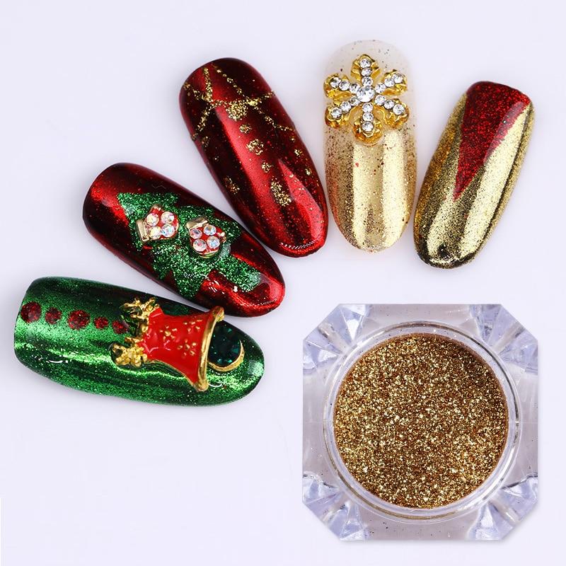 3Pcs Christmas Mirror Nail Glitter Powder Set Xmas Colorful Nail Art Chrome Pigment Dust Glitter Paillette Nail Dipping UV Gel