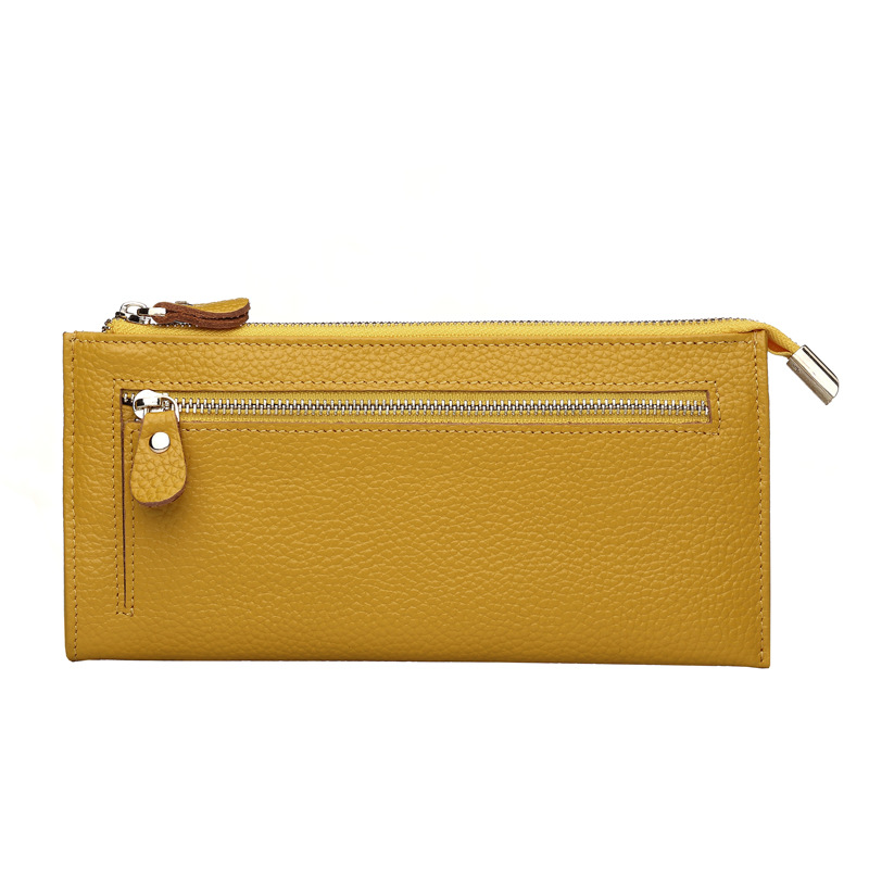Fashion New Brand Genuine Leather Women Wallet Hand Bag Designer Women Long Purse Zipper Real Cow Leather Yellow Phone Wallets