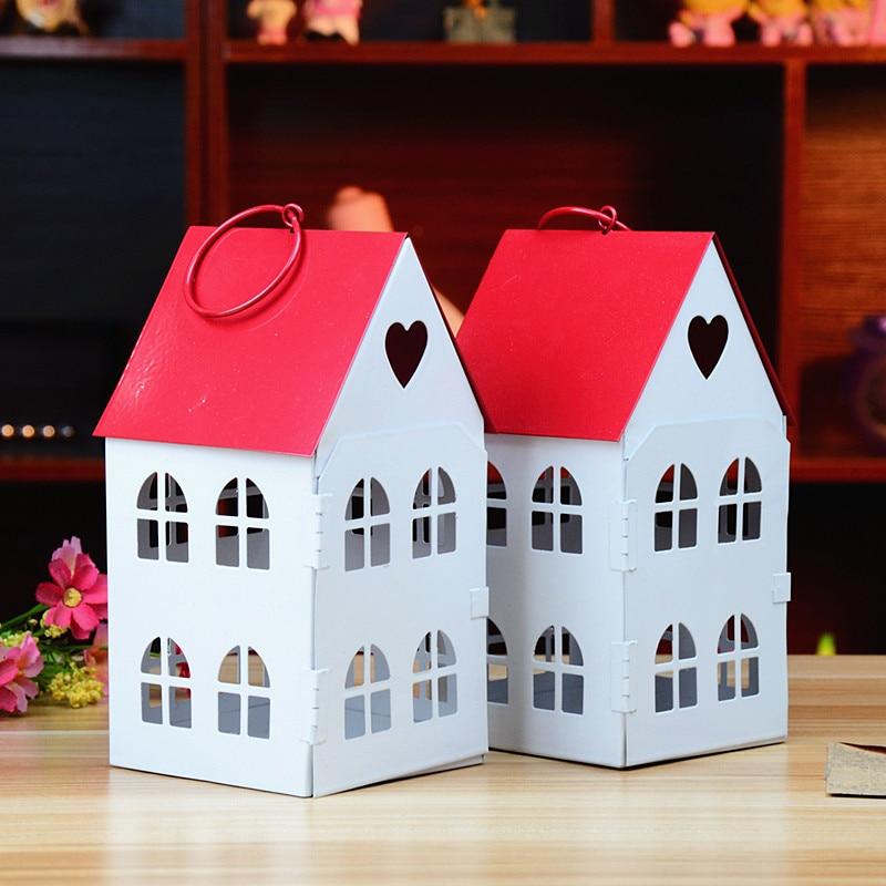 Zakka Korean Style Love Iron Lantern Candle Holder House Decoration Retro Wedding Gifts Vintage