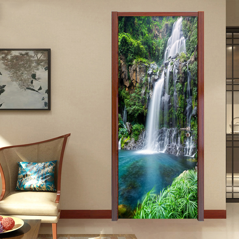 PVC Self Adhesive Waterproof 3D Stereo Waterfalls Wallpaper Living Room Bedroom Chinese Style Photo Wall Door Sticker Home Decor pvc self adhesive waterproof 3d wallpaper fairy forest photo wall mural door sticker living room kids bedroom home decor sticker