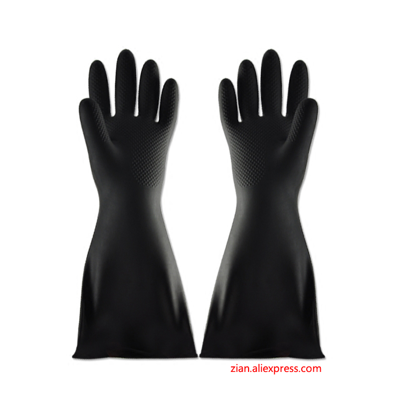 60cm Industrial Acid Alkali Gloves Black Rubber Plus Long Thick Oil Resistance Chemical Anti-corrosion Chemical Rubber Latex