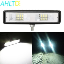 6 inch 48W 16LED Work Light Bar Flood Beam Bulb Car SUV OffRoad Driving Fog Lamps for Jeep Truck Tractor Boat Trailer 12V
