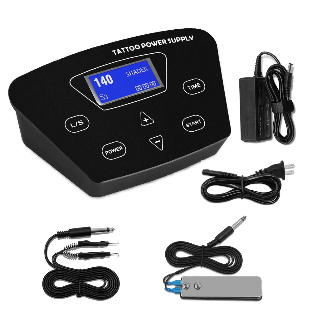 Biomaser LCD Digital Tattoo Power Supply With Power Adapter For Tattoo Pedal Clip Cord Tattoo SupplyBiomaser LCD Digital Tattoo Power Supply With Power Adapter For Tattoo Pedal Clip Cord Tattoo Supply