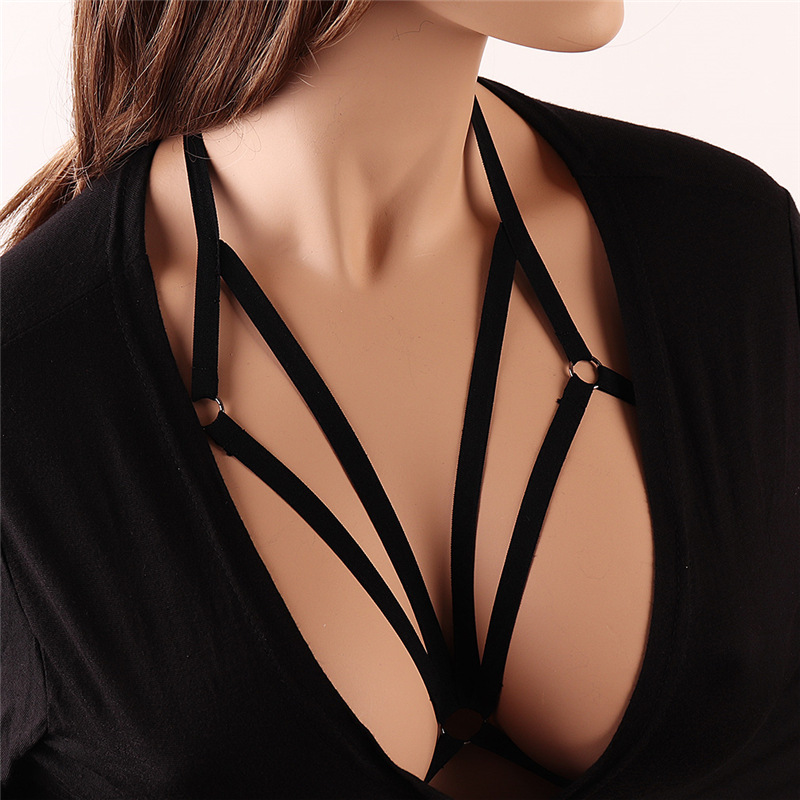 Body Harness Lingerie Belt Top Caged Harness Bra Black Sexy Hollow Out Elastic Adjust Strap Bra Rave Wear For Women Exotic Appar