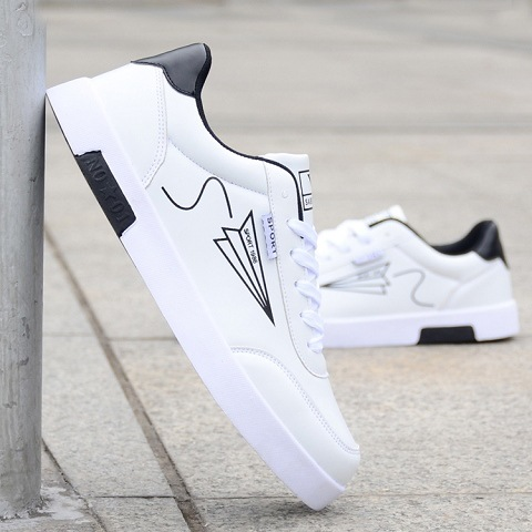 Men's Shoes Flat Fashion Summer New Tie White Low-Plate The