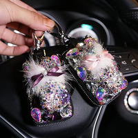 Crystal Lady Car Key Case For Women Girls Leather Plush Diamond Auto Keys Holder Cover Hand make DIY Storage Bag Protector Gifts
