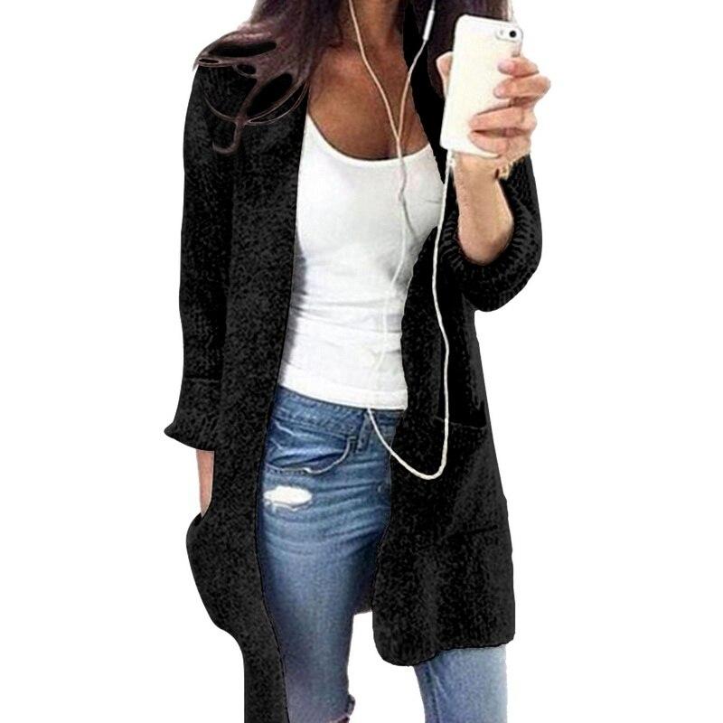 ad4be0b9273c 2018 Otoño de las mujeres suéteres casuales de manga larga suelta tejer Cardigan  moda sólido prendas