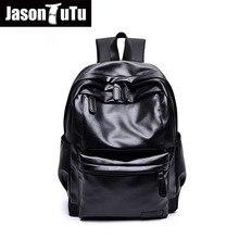 JASON TUTU Schwarz pu-leder rucksack Männer Reisen Rucksack Junge schule 14 zoll laptop rucksack Gute qualität Mochila NewListing B422