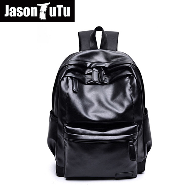ef96a8e4067f JASON TUTU Black PU leather backpack Men Travel Knapsack Boy school 14 inch  laptop backpack Good quality Mochila NewListing B422