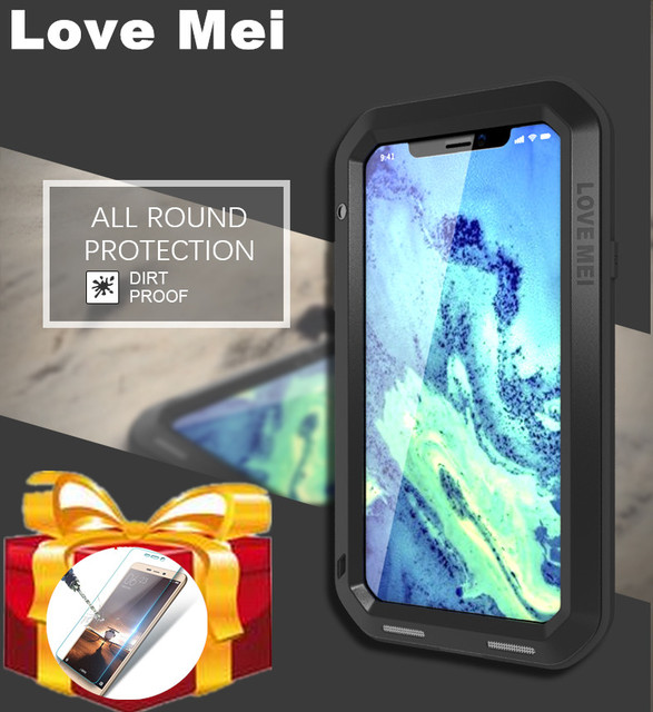 8cea89b175b Gorilla Glass) LOVE MEI POWERFUL case For iphone X XS Max XR phone case for  iphone 8 6 6s 7 Plus Waterproof Aluminum phone case