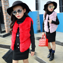Girls Wear Fur Winter New Vest Thick Warm Kids Clothing Red Pink Cotton