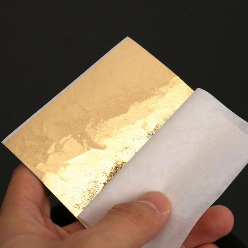 Overvalue 100 sheets gold foil leaf aluminum leaf gilding for Furniture decoration paper