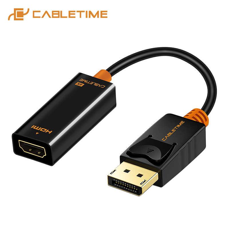 Cabletime 2019 عرض ميناء كابل وصلة بينية مُتعددة الوسائط وعالية الوضوح ذكر/شاحن أنثي DP محول الكابل 1080P لجهاز العرض HP/ديل محمول C076