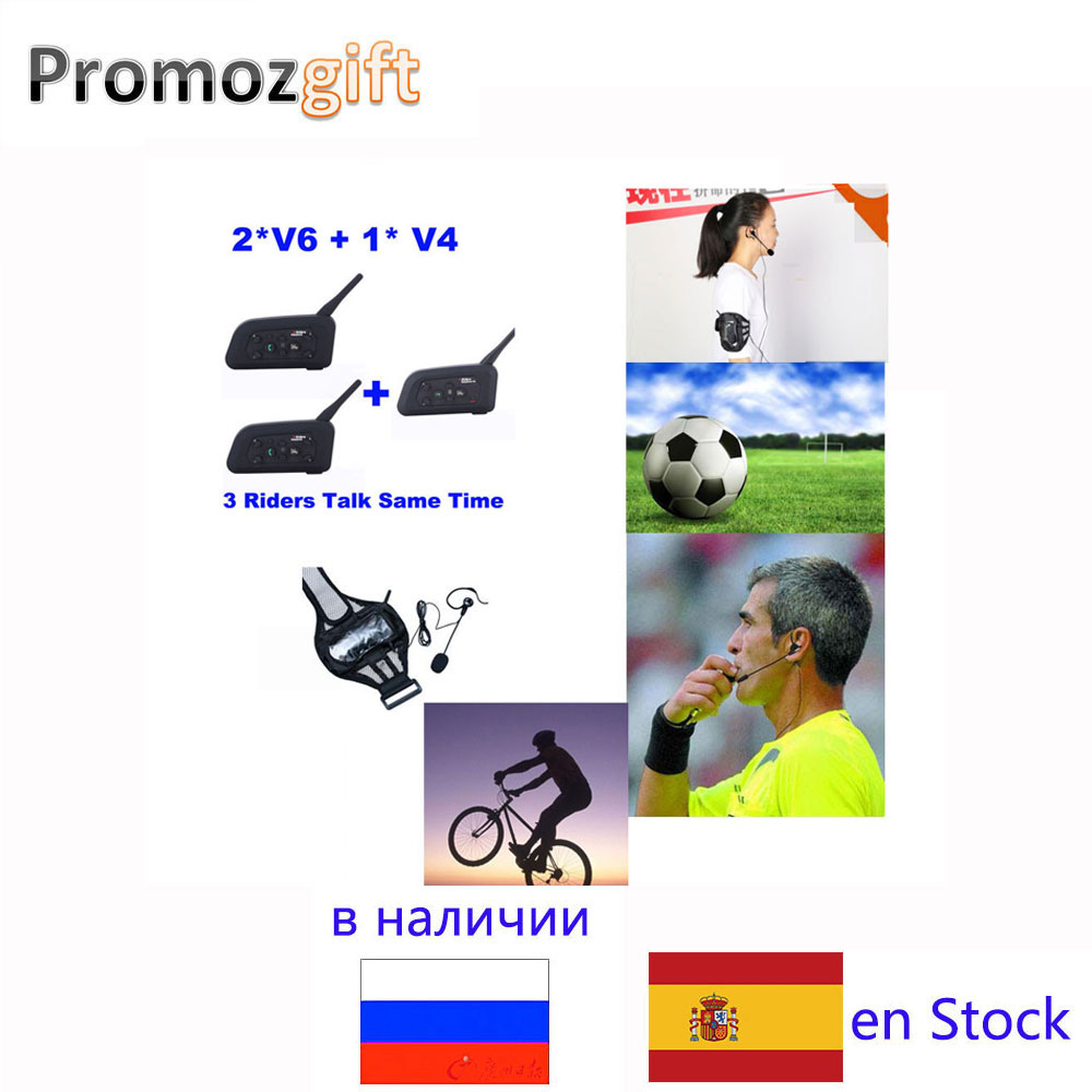 Pro V4 + 2 * V6 1200M 3 Referees Talk same time for Football Referee Coach Headset Judger Arbitration Walkie Talkie Earphone
