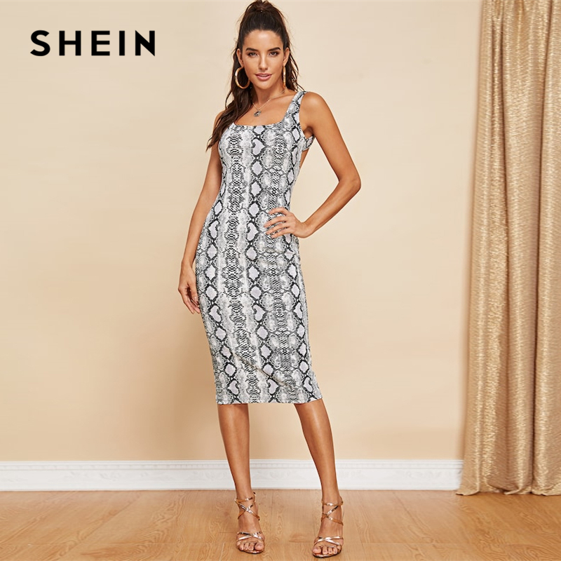 781184383ce4 SHEIN Multicolor Party Sexy Backless Snake Skin Print Sleeveless Skinny  Club Dress Summer Modern Lady Elegant