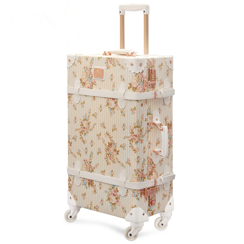 Wholesale!13 20 22 24 26 retro pu leather floral trolley luggage bag,girl japan vintage trolley luggage on universal wheels
