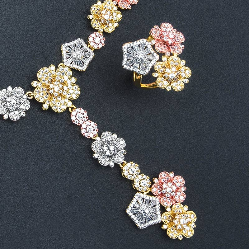 ModemAngel Luxury Flower Luxury Geometry AAA Cubic Zirconia 3 Colors Wedding Bridal Necklace Bangle Earring Ring Copper Set Join