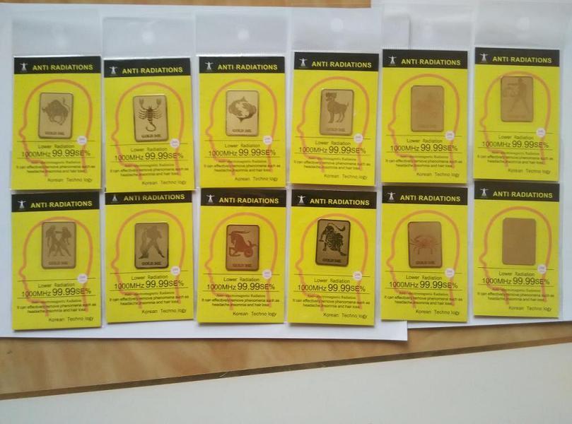 Оптовая продажа сотовый телефон стикер-зодиака 24 К Золото мобильного телефона анти излучения наклейки анти излучения chip120pcs/много Бесплатн…