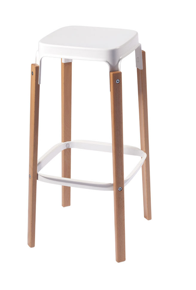 68cm Seat Height Replica Modern Design Steelwood Bar Stool Solid Wooden Leg Metal Steel Base Bar Chair Kitchen Counter Stool
