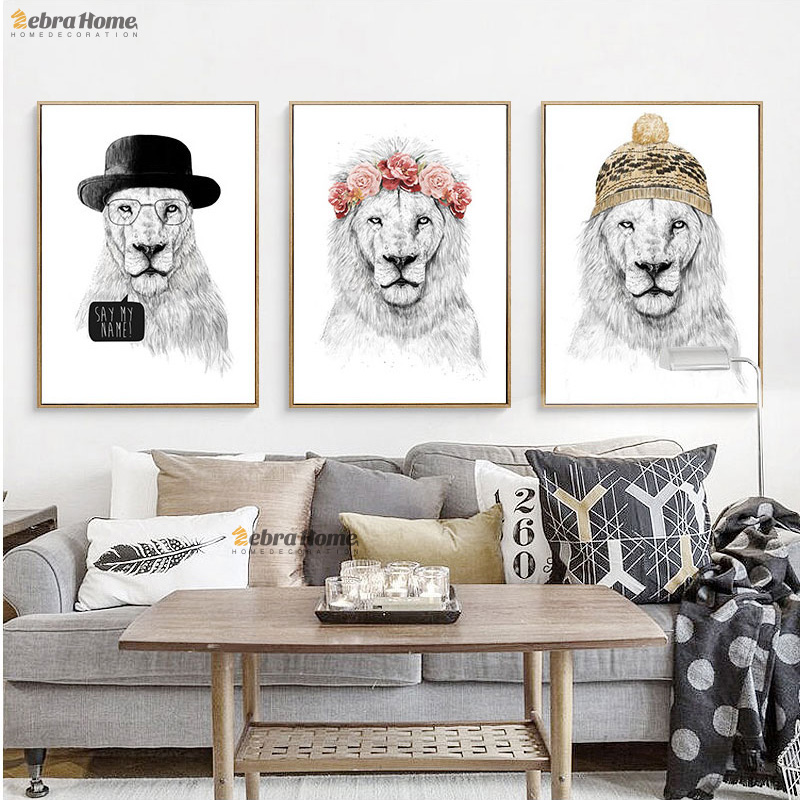Lion Zeichnung Kunstdrucke Poster Hipster Wand Bild Skizze Leinwand Malerei Für Wohnzimmer Schlafzimmer Dekoration Wandkunst