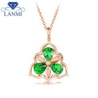 Fashion Natural Tsavorite Wedding Pendant Necklace Real 18Kt Rose Gold Bling Diamond Loving Jewelry for Engagement Women Gift