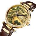 Древний китайский Qingming Ривер карта женские Автоматические механические часы Сапфировая инкрустация циферблат часы мужские часы Reloj De Hombre