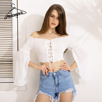 Gracegirl 2017 Summer Women Tops Series Spring Fashion Cropped Lace Up Patchwork Flare Sleeve Sexy Blouse